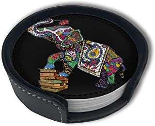 Colorful Happy Elephant Coasters For Drinks Set Of 6 With Holder