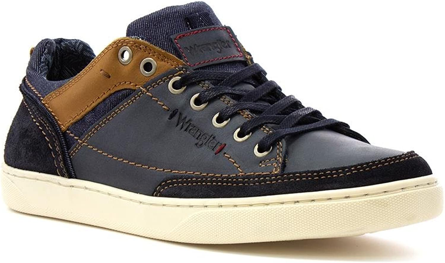 Wrangler Jasper Mens Navy Leather Casual shoes