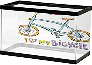 bybyhome HD Aquarium Background Bicycle,Classic Design Bicycle Drawings of Pastel Colors Retro Style White Background,Cadet Blue Camel Fish Tank Decorative