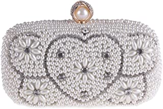 JUNfenghe Women's Pearl Evening Bag Inlay Rhinestone Banquet Clutch Wedding Gift Beaded Embroidery Chain Shoulder Bag Tote Messenger Bag Size: 19 * 7 * 9.5cm (Color : White)