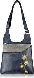 ESPE Serene Vegan Leather Messenger Handbag with Whimsical Dandelion Motif