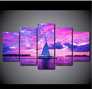 Lijome Wall Art Hd Printed And Poster Canvas 5 Piece/Pieces Modular Boats In Ocean Pink Painting Pictures Home Decor Livin...