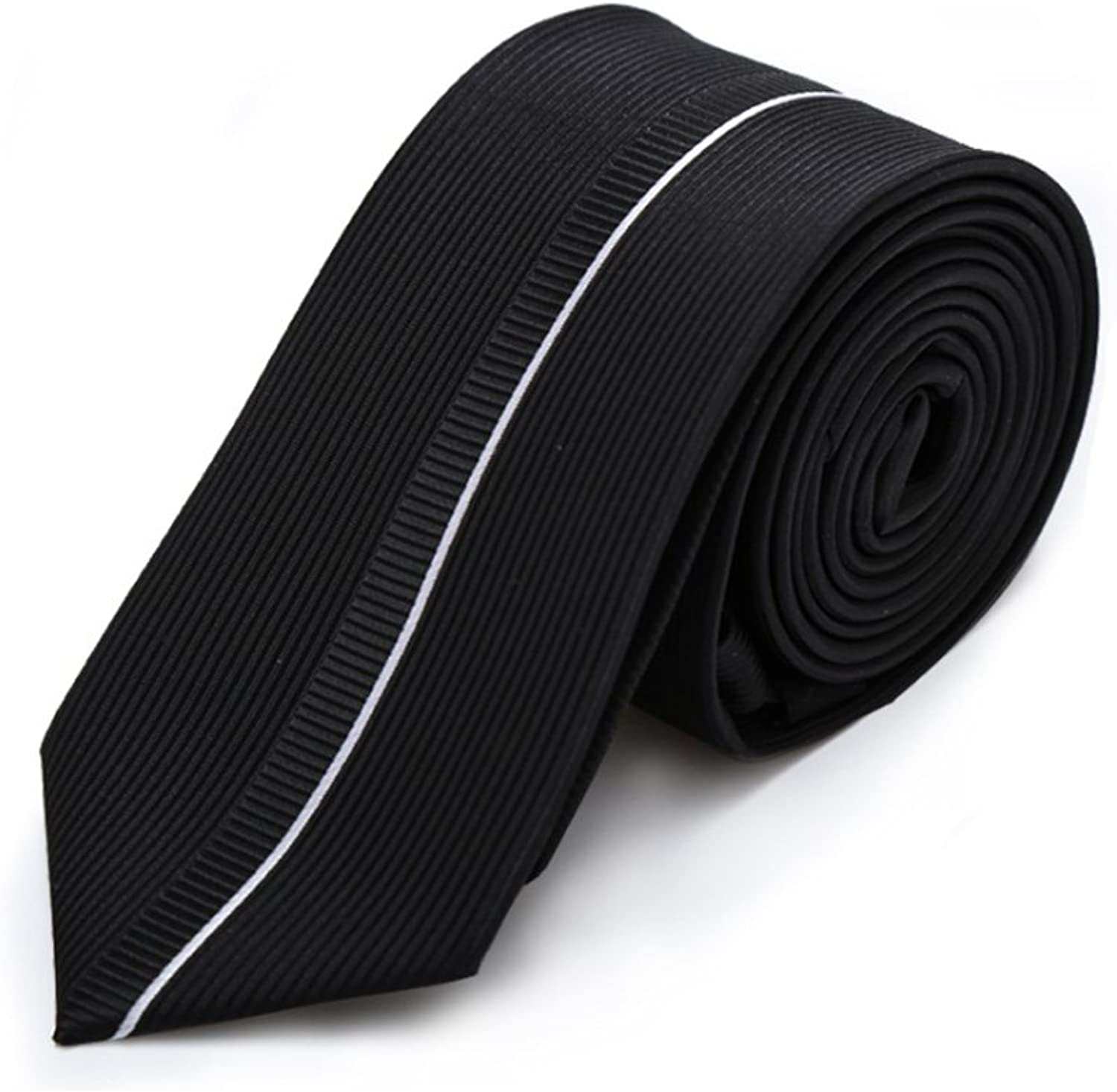 Men Tie Black Necktie Silk Polyester Blend Patchwork Men Neck Tie with Gift Box