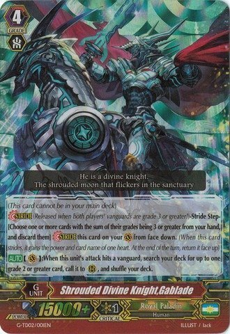 Cardfight!! Vanguard TCG - Shrouded Divine Knight, Gablade (G-TD02/001EN) - G Trial Deck 2: Divine Swordsman of The Shiny Star