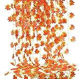 NAHUAA 12pcs Feuilles d'Erable Artificielles Guirlande Automne Rouge Fleurs Artificielle à Suspendre Plantes d'automne Lierre Décoration Extérieur Intérieur pour Mariage Fête Cheminée Thanksgiving