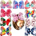 6 Inch Grosgrain Ribbon Rainbow Hair Bow Unicorn Hair Clips for Girls Toddlers Kids Children