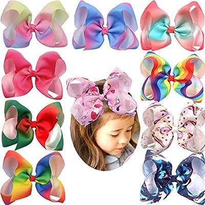 6 Inch Grosgrain Ribbon Rainbow Hair Bow Unicorn Hair Clips for Girls Toddlers Kids Children