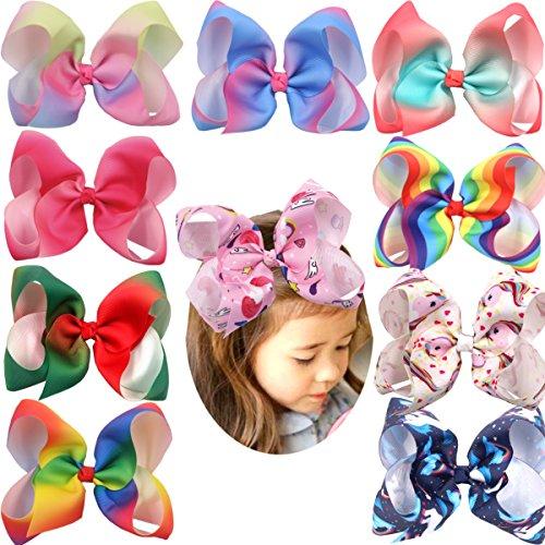 20 Colors 6 Inch Large Big Hair Bows Alligator Hair Clips Grosgrain Ribbon Rainbow Hair Bow Unicorn Hair Clips for Girls Toddlers Kids Children