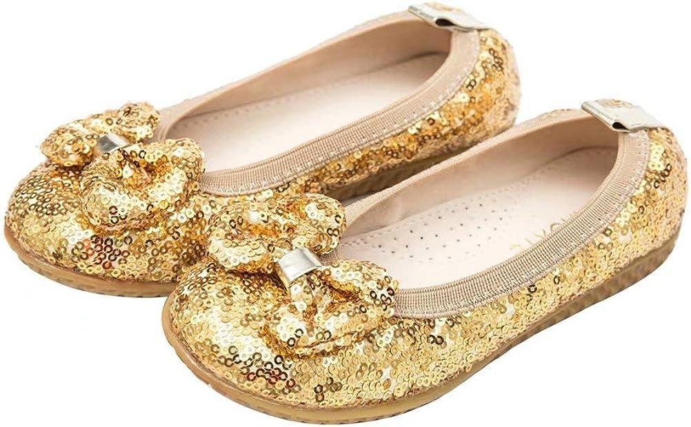 RAOXYE Girl's Dress Shoes Glitter Slip Colorado Springs Mall L Ballet Super intense SALE On Flat Toddler