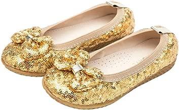 RAOXYE Girl's Dress Shoes Glitter Slip On Ballet Flat (Toddler/Little Kid)