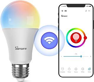 SONOFF WiFi Regulable RGB Multicolor Bombilla Bayoneta B05-B-A60, E27, 9W, 806Lm, Compatible con Alexa y Google Assistant, 2.4G wifi, Control Remoto por Smartphone IOS y Android, No Requiere Hub