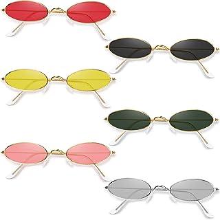 6 Pairs Vintage Oval Sunglasses Metal Frame Oval Sunglasses Slender Candy Color Sunglasses Eyewear