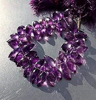 Gema morada amatista facetada Puff Marquise Pointer Briolette Drop Beads 17,78 cm hebra 11 x 6,2 a 15 x 6,5 mm