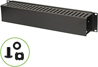 NavePoint 2U Plastic Rack Mount Horizontal Cable Manager Duct Raceway for 19 Inch Server Rack