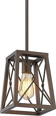 FEMILA Farmhouse Pendant Light, 1-Light Metal Wire Cage Hanging Lantern, Oil Rubbed Bronze Finish, 4FY16-M1L ORB