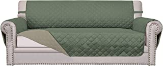 Easy-Going Sofa Slipcover Reversible Sofa Cover Furniture Protector Couch Cover Water Resistant Elastic Straps PetsKidsDogCat(Oversized Sofa,Greyish Green/Beige)
