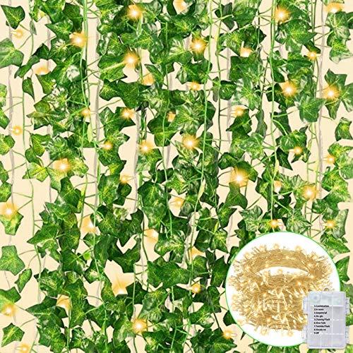 CQURE künstliche Efeu Girlande, Efeu Girlande gefälschte Rebe grüne Blätter gefälschte Pflanzen hängen Rebe Pflanze für Hochzeit Party Garten Wanddekoration (Warme Lichter-12)