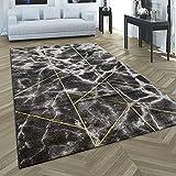 Paco Home Teppich Wohnzimmer Kurzflor 3D Effekt Marmor Optik Geometrisches Muster Rautenmuster, Grösse:80x300 cm, Farbe:Gold