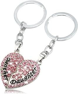 Jzone Split Heart Keychain - Set of 2 Mother & Daughter Heart Keychain (Pink)