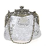 Flada damas y mujeres Vintage lentejuelas bolso hecho a mano abalorios de noche embragues fiesta de boda de plata