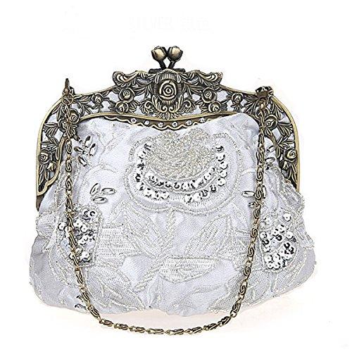 Flada damas y mujeres Vintage lentejuelas bolso hecho a mano abalorios de...