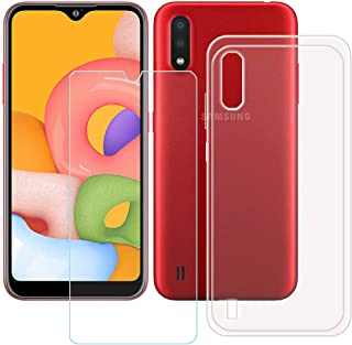 TTJ Transparent skal för Samsung Galaxy M01S + HD pansarglas, mobiltelefonfodral silikon skyddsfodral TPU Case mobilväska...