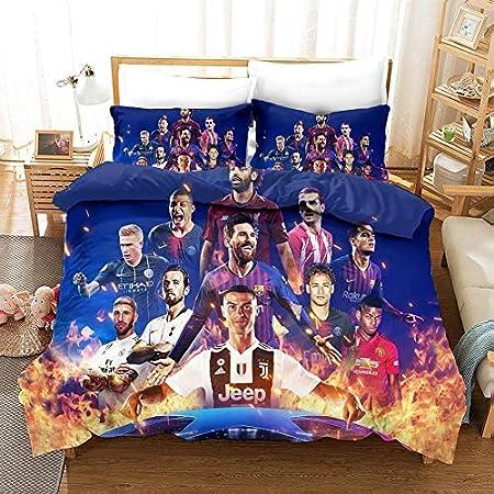 Carborex FC Bayern M/ünchen Parure de lit avec housse de couette 140 x 200 cm Motif football Bleu//rouge Certifi/é /Öko-Tex