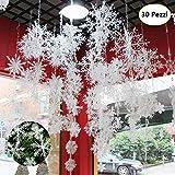 Windyeu 30 Psc Fiocchi di Neve Grandi 10x10 cm in Plastica Decorazioni di Natale da Appendere Addobbi Natalizi per Albero Negozi Casa