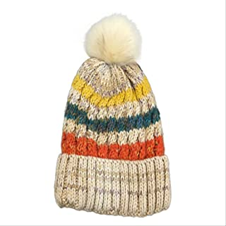 MZHHAOAN Fashion Lovely Plush Ball Stripe Beanie Cap Women Soft Warm Autumn Winter Hat
