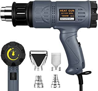 SEEKONE Industrial Heat Gun 1800W 122℉~1202℉(50℃-650℃) Variable Temperature Control with Two Temp-settings, Overload Protection, Four Nozzle Attachments for Shrinking PVC, Bending Pipes, Removing Pain