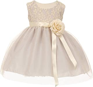 a19b9c3d1f3 iGirlDress Baby Girls Two Tone Lace Flower Girl Dress 6Mon-24Mos