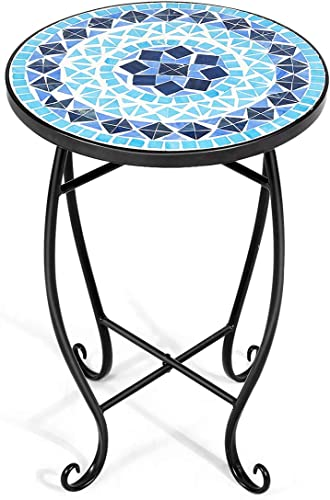 wholesale Giantex Outdoor Side Table, Mosaic Patio Table, 14inch Accent Table Plant Stand Decor, Small Outdoor End Table Porch Beach high quality with Cobalt Glass Top Metal Frame online for Patio Garden Balcony Poolside (Blue) online