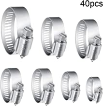 Hose Clamps, Dayree 40 Pcs 304 Stainless Steel Worm Gear Hose Clamp Clips Adjustable Pipe Tube Clamps with 7 Different Sizes for Water Pipe, Plumbing, Automotive and Mechanical Application 8-38 mm