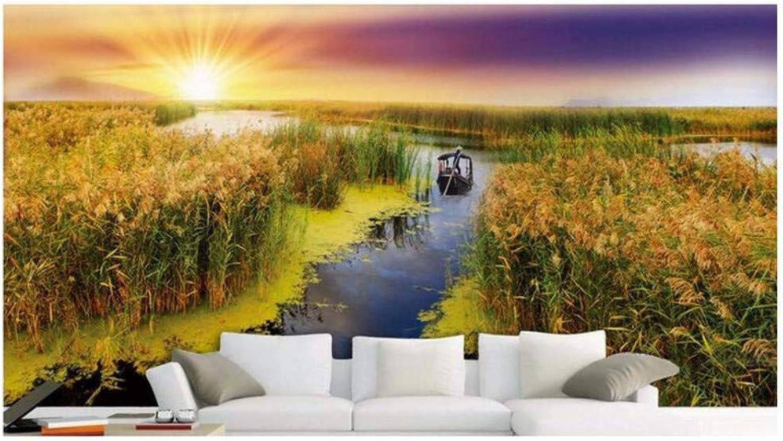 3D Mural Papel Tapiz Fondos De Pantalla 3D Lujo Moderno Puesta De Sol Reed Rain Tv Wall 3 D Fondos De Pantalla De Fotos Para La Sala De Estar, 200 Cm X 140 Cm