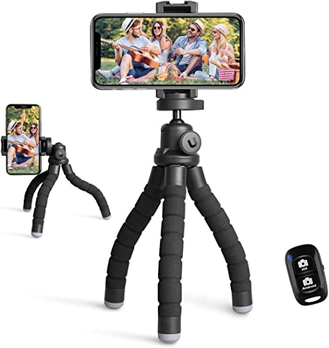Phone Tripod Stand, Portable Cellphone Camera Tripod with Bluetooth Remote, Compatible with iPhone and Android Phone,...