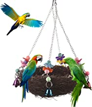 Keersi Natural Rattan Nest Large Bird Swing with Bells for Parrot Parakeet Cockatiel Conure Lovebird Cockatoo Macaw Amazon African Grey Budgie Lovebird Cage Perch Toy