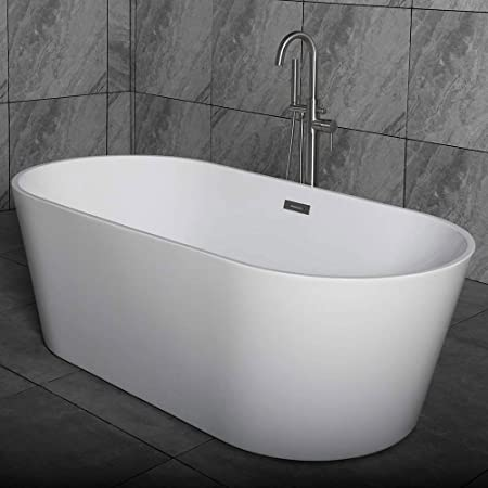 55 Inch Free Standing Tub Cupc Certificated Small Freestanding Acrylic Bathtub With Overflow Side Drain And Hose For Soaking Spa High Glossy White