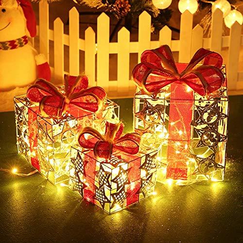 Set de 3 Cajas de Regalo Decorativas con Luz USB LED, LED de luz Blanca cálida en Caja de Regalo y Rojo Cinta de árbol de Navidad, Cajas Preiluminadas para Decoración Navideña