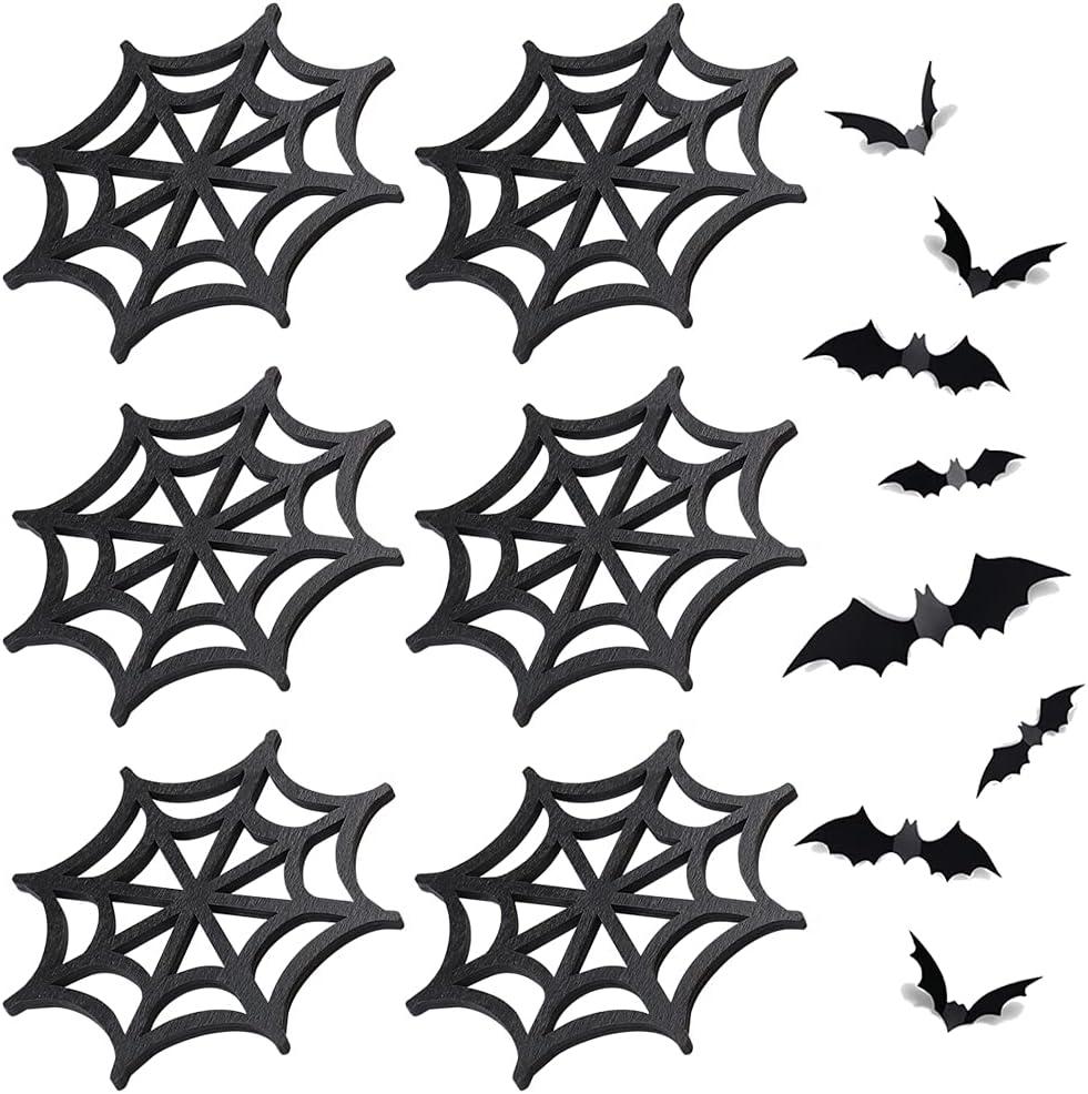 Long-awaited Finphoon Halloween Black Spider Coasters Ranking TOP3 Sets We 6 Wooden