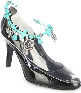 Boot Chain ~ Horseshoe Cross Blue Beads Boot Charm Anklet Boot Bracelets for Cowgirl Boots (Boot Charms)