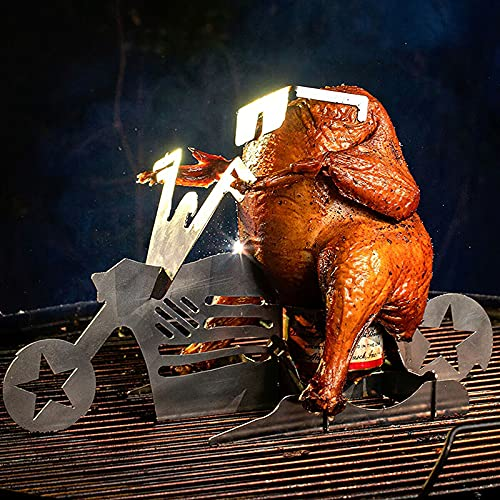 Baocai Merica Biker-Bierdosenständer / Hähnchenbräter / Hähnchenbräter aus Edelstahl für Grill, Grill, Ofen, tolles Geschenk, platzsparend, inkl. Sonnenbrille für das Huhn.