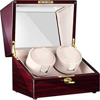 CHIYODA Double Watch Winder LCD with Touch Panel and Display Screen for Automatic Watches Two Quiet Mabuchi Motors 12 Available Modes(Brown)