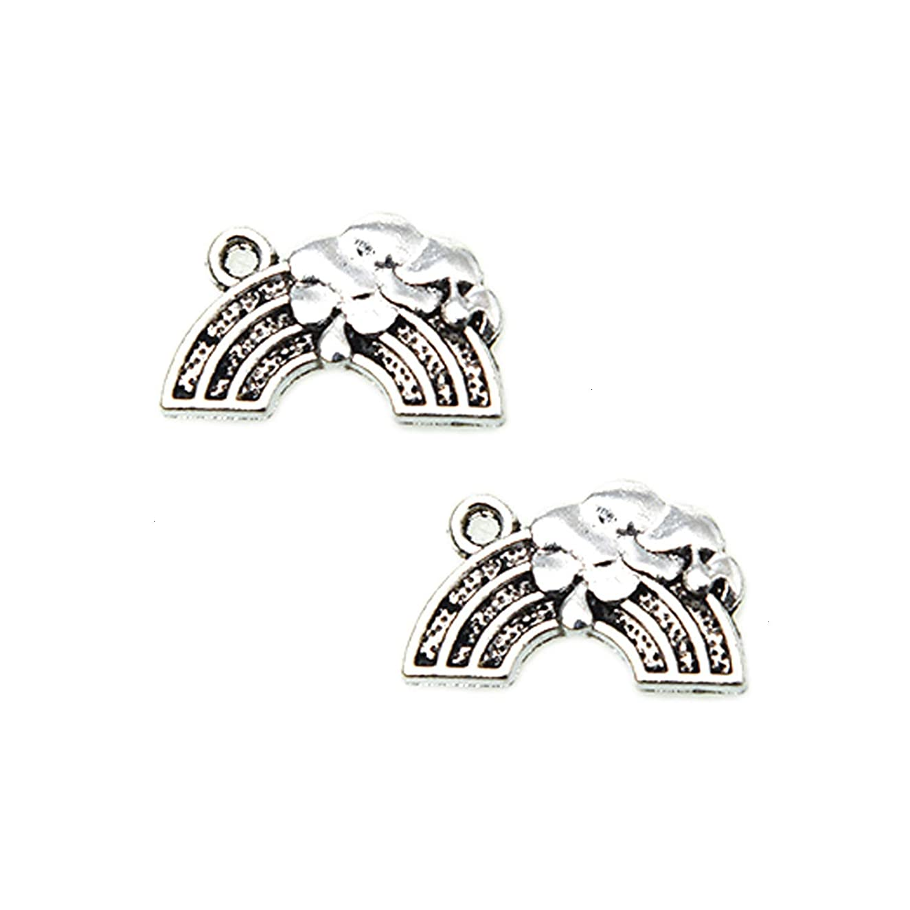 Monrocco 60 Pieces Antique Silver Rainbow Charms for Crafting Necklace, Bracelet, Jewelry Making 19x12mm