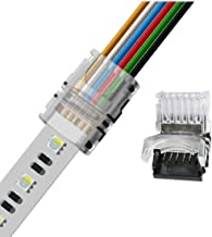 RGBWW 6 Pin LED Strip Connectors 12mm RGB+CCT Connector - DIY Strip to Wire Solderless Quick Connection for 12v 24v Waterproof IP65 RGBCCT Led Strip Lights (Pack of 10)