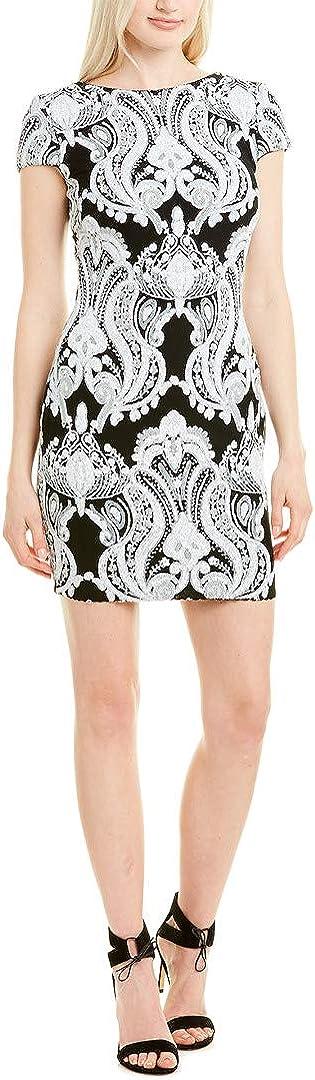 Dress the Population Women's Tabitha Cap Sleeve Sequin Mini Dress, Black/White, X-Large
