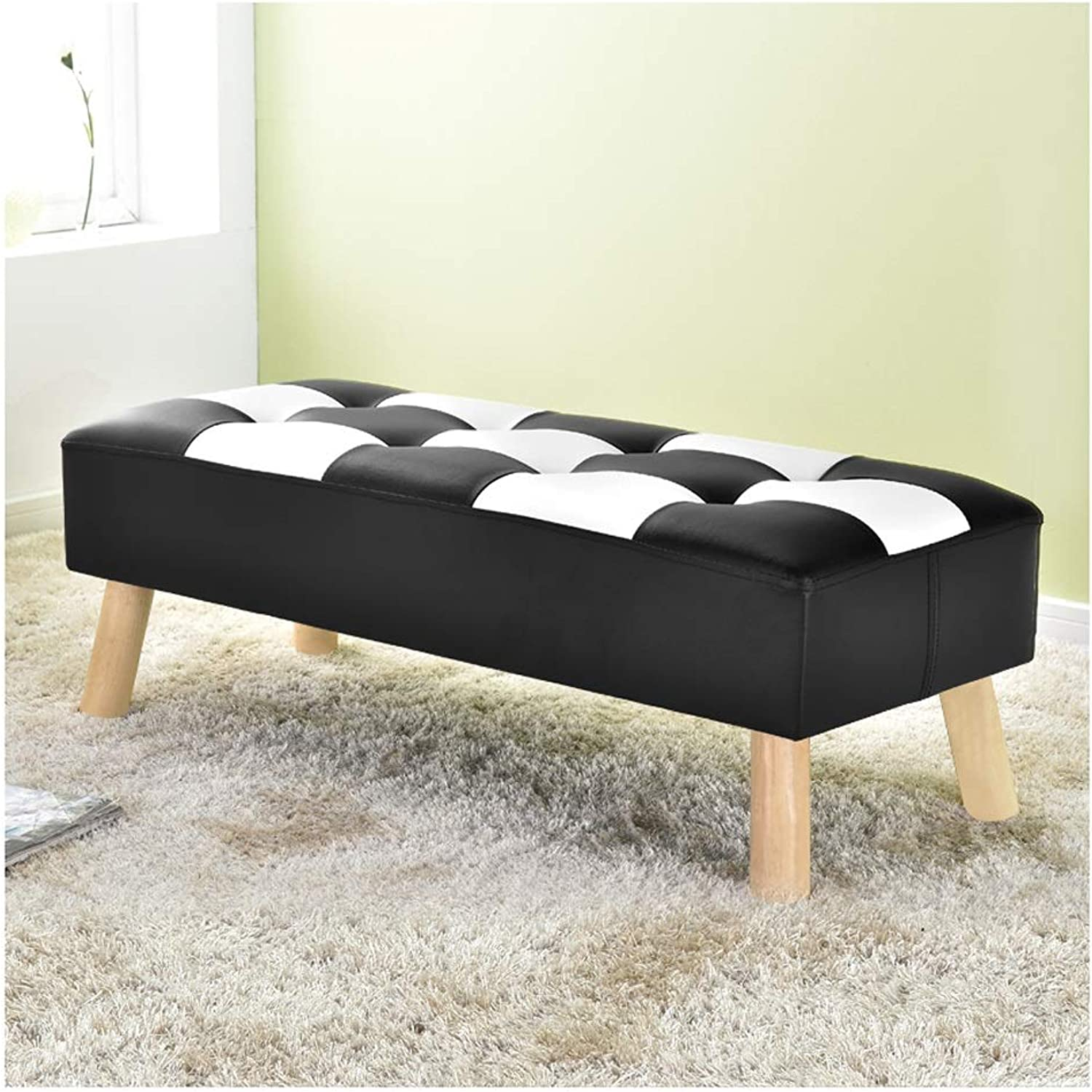 Stools Change shoes Bench, Solid Wood Sofa Bench, Modern Minimalist Clothing Store Bench, shoes Store Fitting Room Rest Bench (color   Black 100×40×32cm)