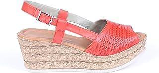 Hakiki Deri Örgü Desenli Hasır Dolgu Topuklu Kırmızı Kadın Sandalet - Birdy
