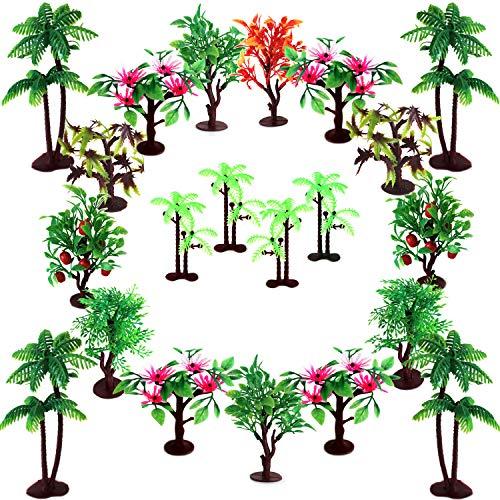 OrgMemory Bäume Kuchen Dekorationen, Modellbau Bäume mit Basen, (19 Stück, 7.5-14 cm), h0 Bäume für Miniatur Deko oder Cake Topper