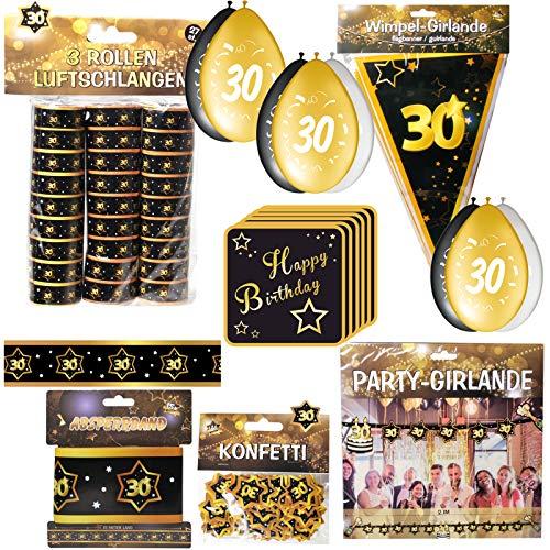 Geschenkeparadies 24 Partyset 59 Teile zum 30. Geburtstag Deko Set Schwarz/Gold Dekoration