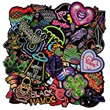 Neon Stickers Waterproof Vinyl 75pcs Cute Decal for Laptops, Water Bottles, Phones, Cases, Kids, Girls Party Supplies